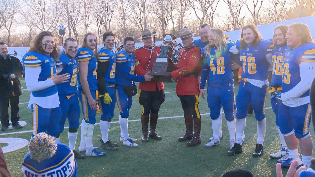The Saskatoon Hilltops win their record-setting fifth straight Canadian Bowl 58-21 over the Langley Rams.