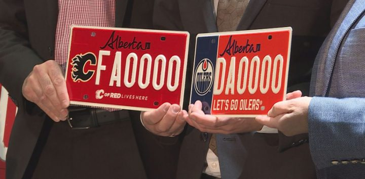 Service Alberta introduced two new specialty licence plates featuring the Flames and the Oilers on Saturday.
