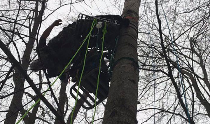 A hunter in Michigan had to be rescued after falling backwards off a tree stand, hanging upside down and dangling about 40 feet from the ground for nearly two hours, resembling a human piñata.
