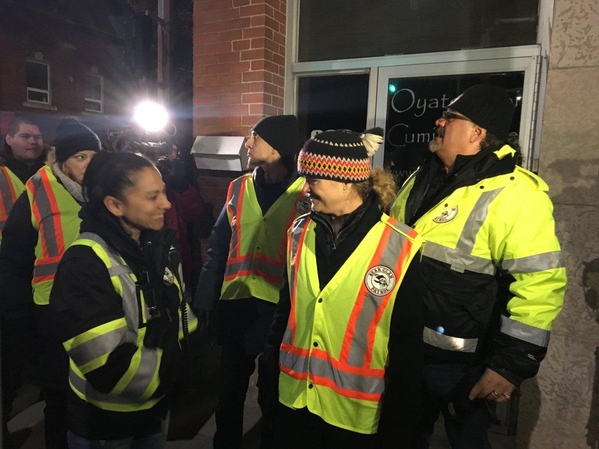 Governor General Julie Payette speaking with Bear Clan patrol volunteers.