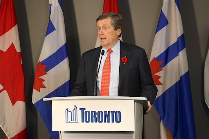 Toronto Mayor John Tory speaks during a news conference at city hall.