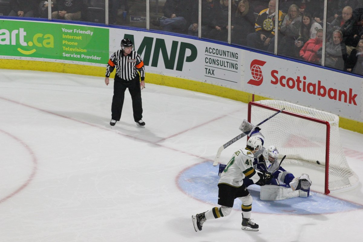 Tonio Stranges puts a puck off the goal post and into the Sudbury Wolves net. It stood up as the only goal of the shootout.