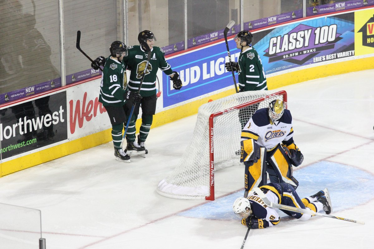 The London Knights celebrate after opening the scoring in Erie on their way to their ninth consecutive victory.