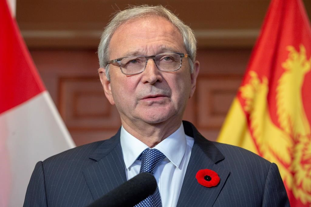 New Brunswick Progressive Conservative Leader Blaine Higgs answers questions from the media after meeting with Lieutenant Governor of New Brunswick Jocelyne Roy-Vienneau at Government House in Fredericton on Friday, Nov. 2, 2018.