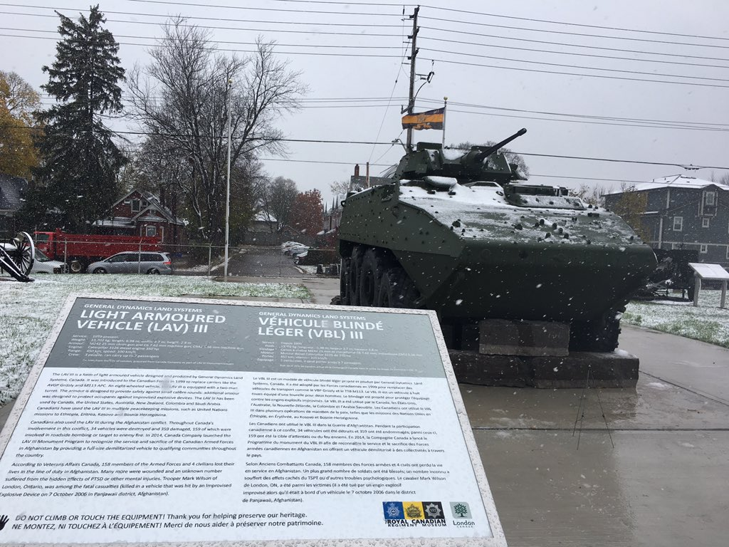 London's new LAV III monument is unveiled on Friday, Nov. 9, 2018 at the Royal Canadian Regiment Museum on Oxford Street.