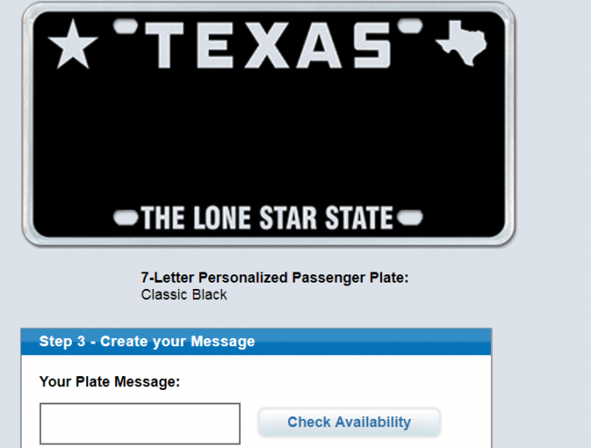 Screen grab from Myplates.com, a Texas company that offers specialty license plates to Texas DMV drivers.