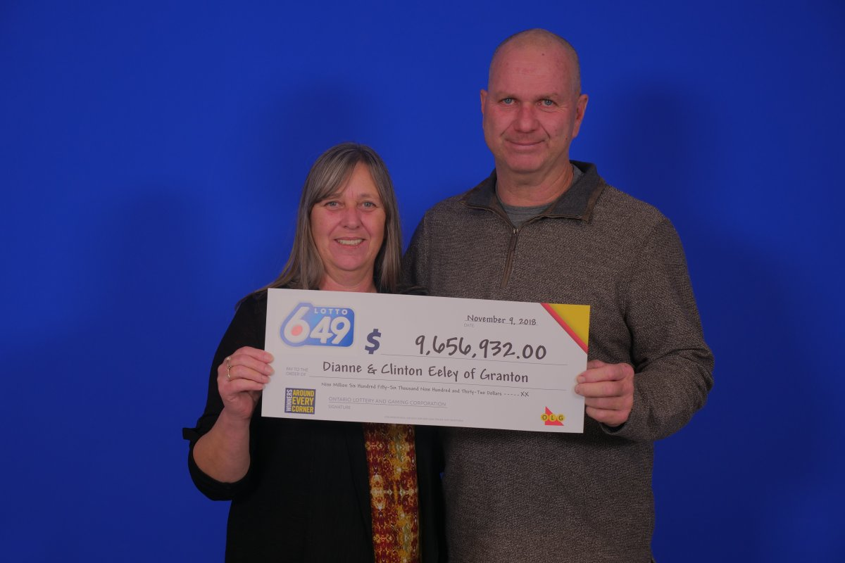 Clinton and Dianne Eeley of Granton won the $9,656,932 jackpot in the November 3, 2018 Lotto 6/49 draw after purchasing their ticket at Petro Canada on Dundas Road in London.