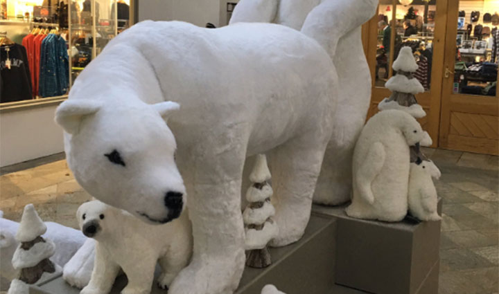 Shoppers at Tynwald Mills in Isle of Man were surprised to see the mall's display had been arranged to show the polar bears going full-on National Geographic putting the X(rated) in Xmas.