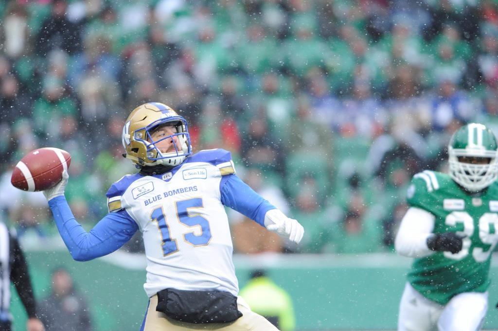 Winnipeg Blue Bombers quarterback Matt Nichols attempts a pass against the Saskatchewan Roughriders during first half CFL West Division semi-final action in Regina on Sunday, Nov. 11, 2018. THE CANADIAN PRESS/Mark Taylor.