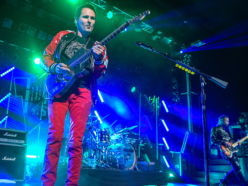 Matthew Bellamy, guitarist with the British band Muse, is seen on stage at the Reeperbahn Festival on September 19, 2018.