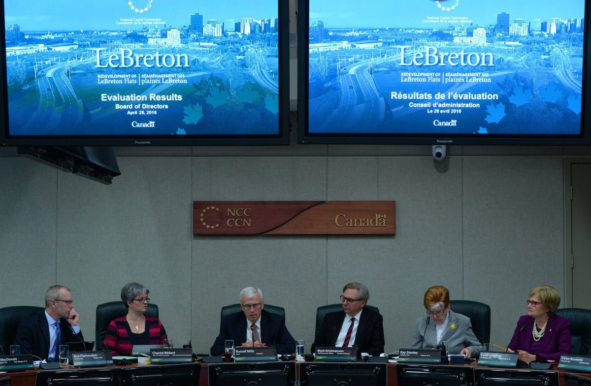 The National Capital Commission hears the results from the evaluation committee regarding the LeBreton Flats redevelopment in Ottawa on Thursday, April 28, 2019. THE CANADIAN PRESS/Sean Kilpatrick.
