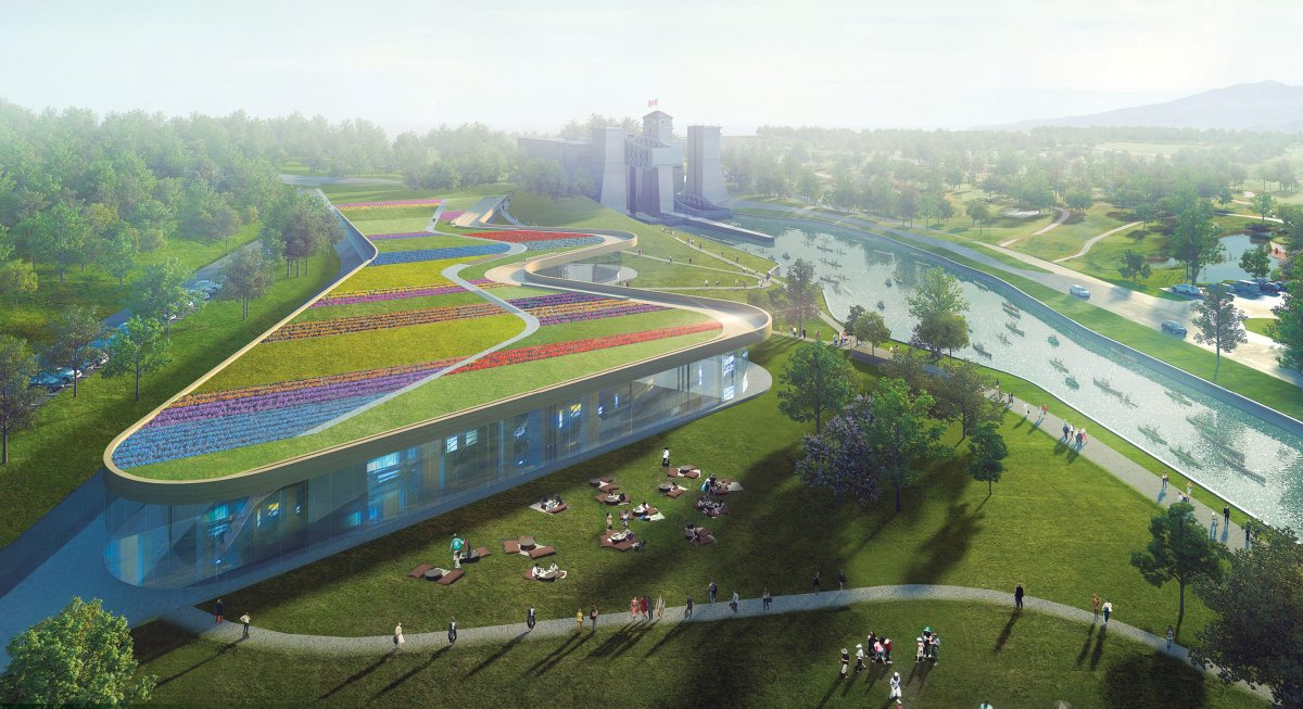 An artist conception of the new Canadian Canoe Museum, designed by Heneghan Peng Artichets  and Kearns Macini Architects.