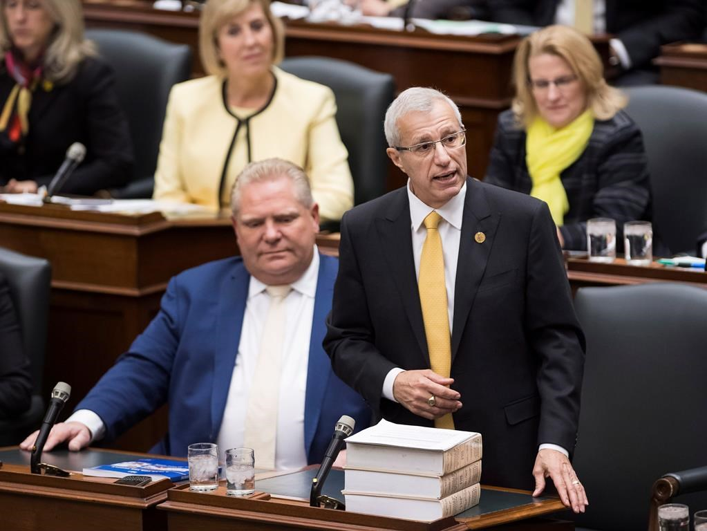 Vic Fedeli, Ontario minister of finance, tables the government's Fall Economic Statement for 2018-2019 at Queen's Park in Toronto on Thursday, Nov. 15, 2018.