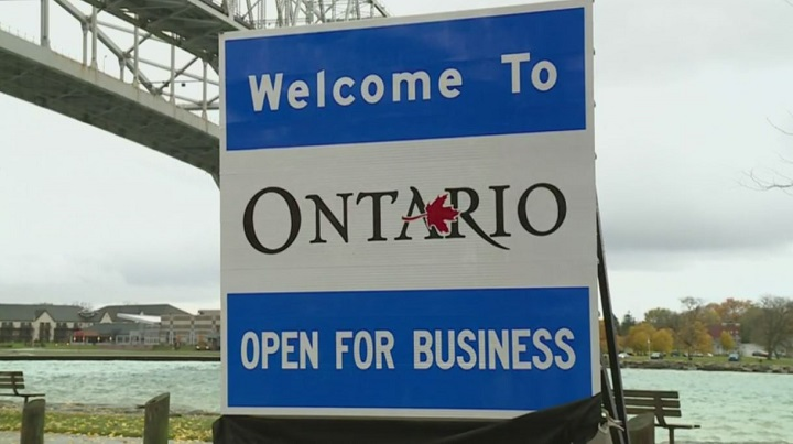 "Premier Doug Ford unveiled this ""Ontario open for business"" sign in Sarnia on Nov. 2, 2018. Ford said the signs will be placed at every Ontario border with the U.S."