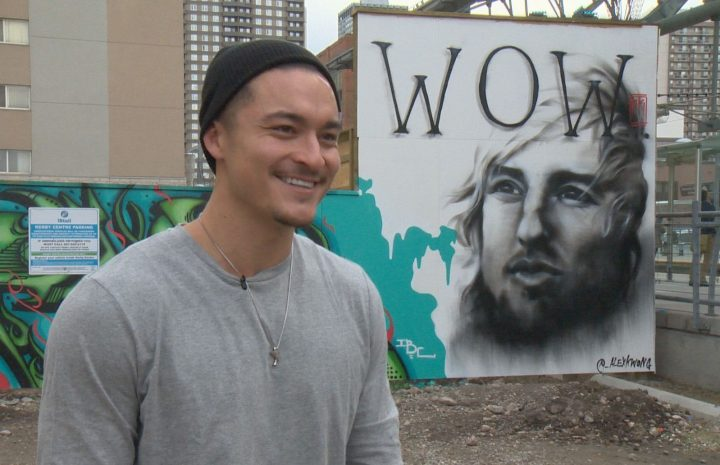 Calgary artist Alex Kwong brightened the mood and the CTrain platform with a painting of Owen Wilson.