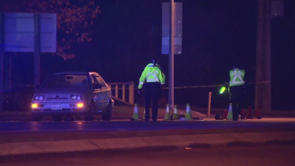 Police say the collision left one person with potentially life-threatening injuries.