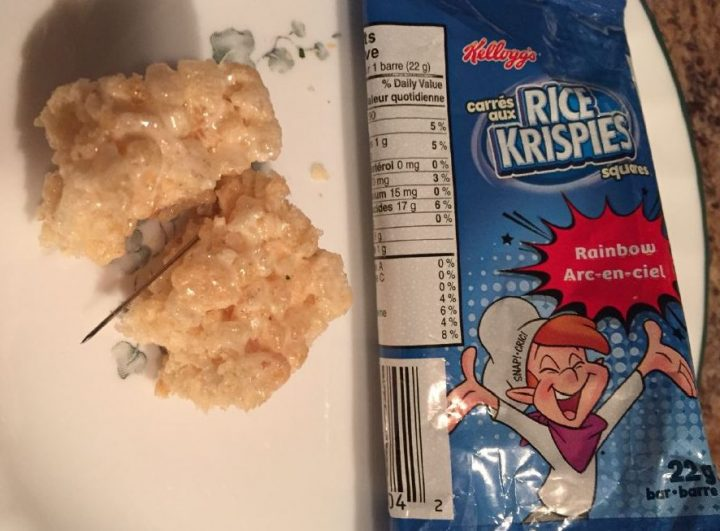 A young girl in Strathmore opened a Rice Krispies square to find an once-inch pin inside the treat, so her mom inspected it, RCMP said.