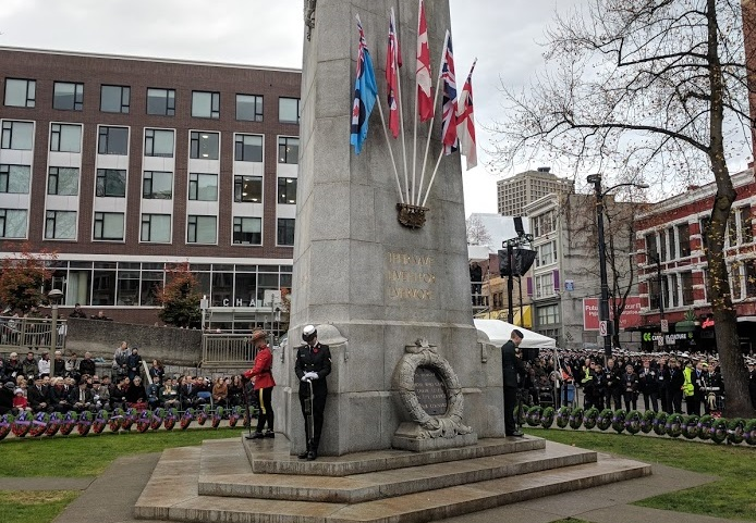 Remembrance Day ceremonies at the Victory Square cenotaph in 2017.