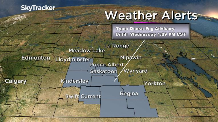 Environment Canada says a dense fog covering parts of Saskatchewan will lift as the morning progresses.