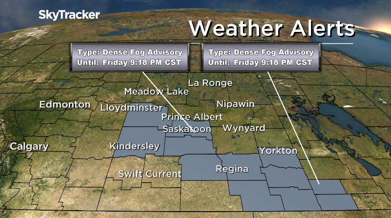 Near zero visibility is occurring in parts of Saskatchewan, including Saskatoon and Regina, due to widespread fog.