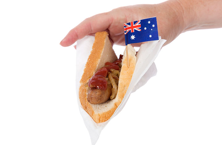 Australian sausage sizzle, a traditional barbecue offering.
