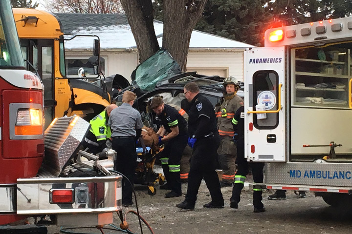 The driver of an SUV and several students were injured after a collision between the vehicle and a school bus in Saskatoon on Nov. 15, 2018.