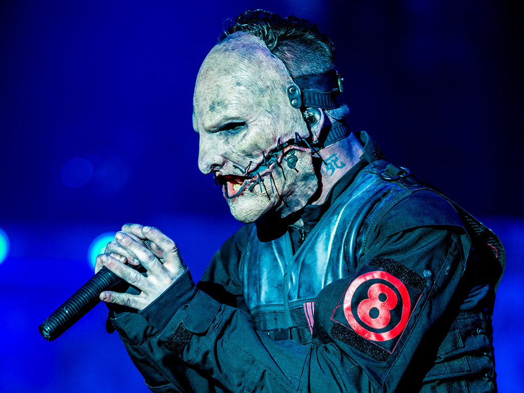 Corey Taylor of Slipknot performs at Donnington Park on June 12, 2015, in Donnington, England.