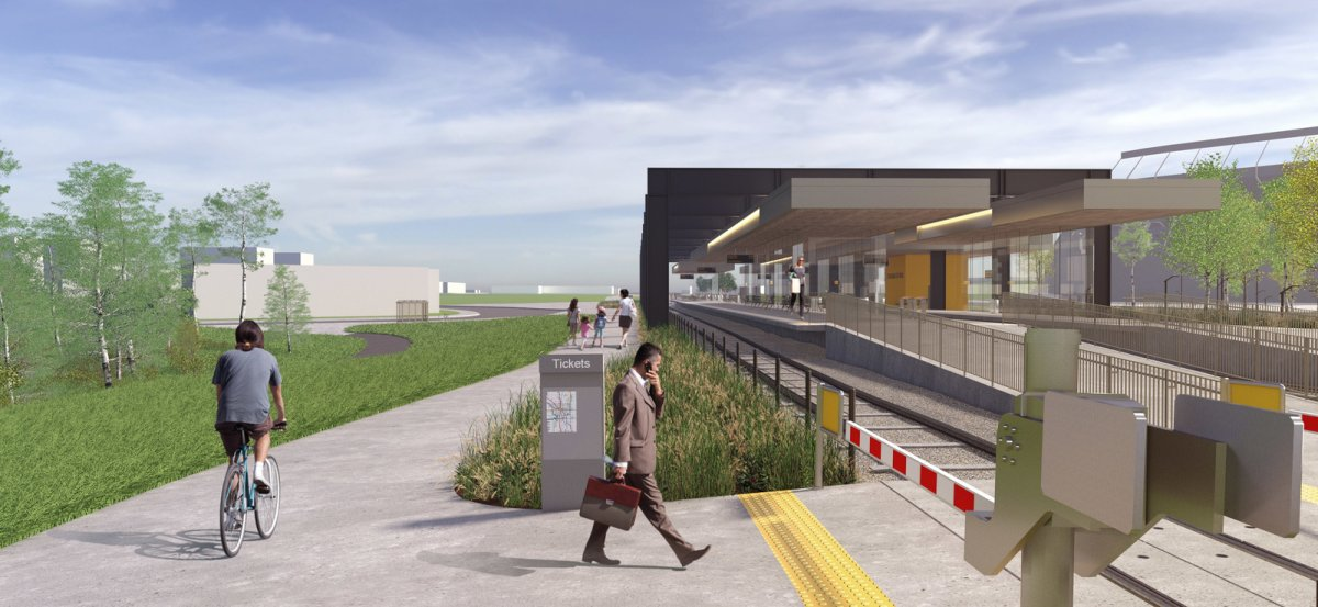Images shows what a redesigned Stadium LRT station would look like.