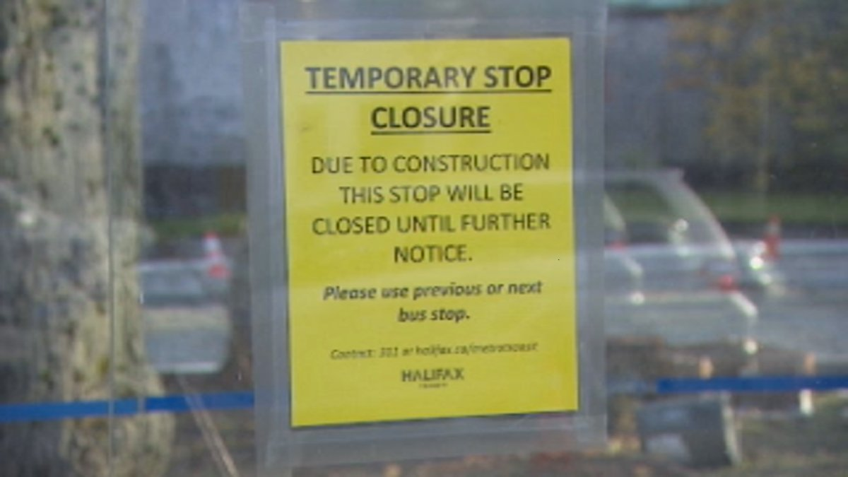 A sign on a Halifax Transit bus stop indicating a temporary closure.