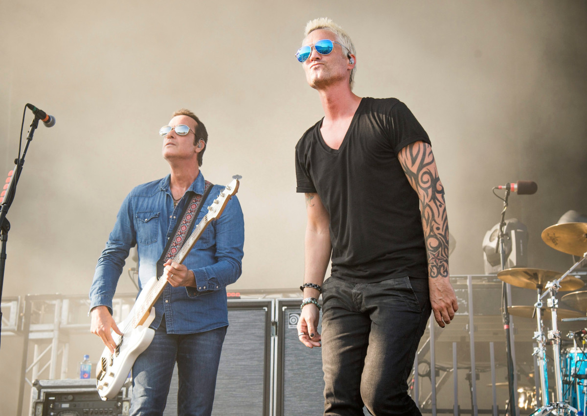 Jeff Gutt, left, and Robert DeLeo of Stone Temple Pilots perform at the Rock On The Range Music Festival at Mapfre Stadium on Sunday, May 20, 2018, in Columbus, Ohio.