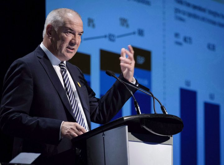 Suncor president and CEO Steve Williams addresses the company's annual meeting in Calgary, Wednesday, May 2, 2018.