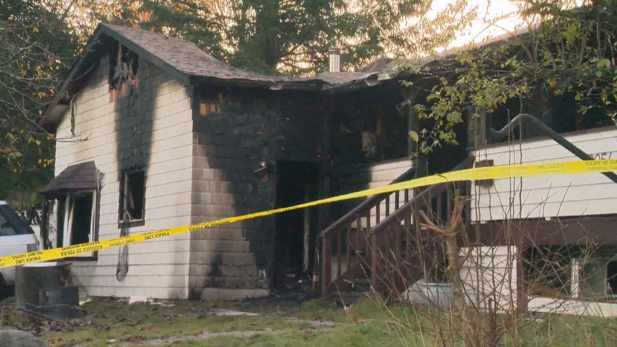 Two men escaped the burning house in Surrey, B.C., but were taken to hospital to be treated for smoke inhalation.