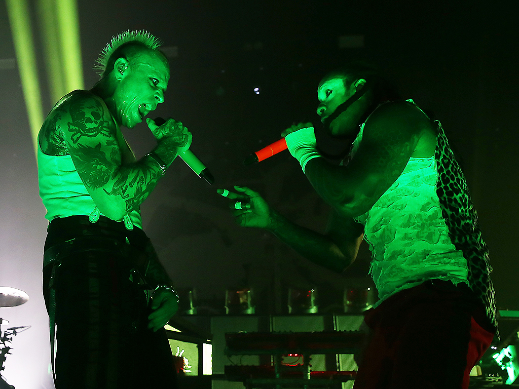Keith Flint and Maxim Reality of The Prodigy perform live on stage at O2 Academy Brixton on December 21, 2017 in London, England.