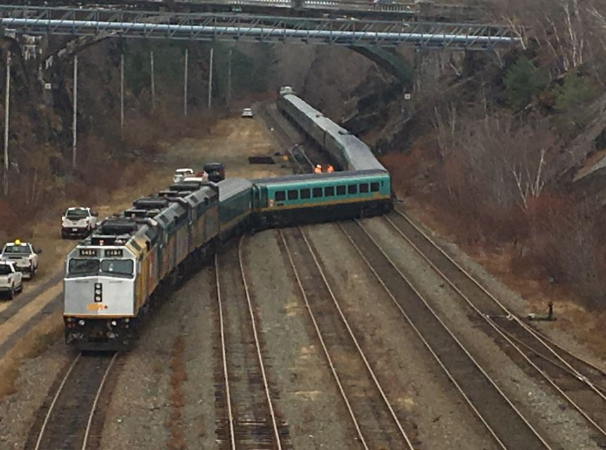 A Via Rail passenger train derailed near the station in south-end Halifax during the morning of Sunday, Nov. 25, 2018.