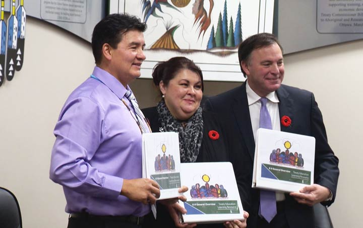 Saskatchewan's treaty commissioner Mary Culbertson (centre) says if a teaching guide is used effectively it can change a generation's mindset.
