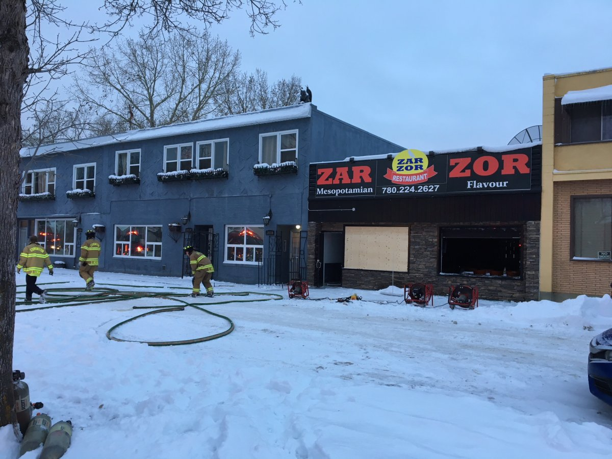 A fire broke out at Zar Zor restaurant at 121 Avenue and 90 Street in Edmonton on Dec. 5, 2018.