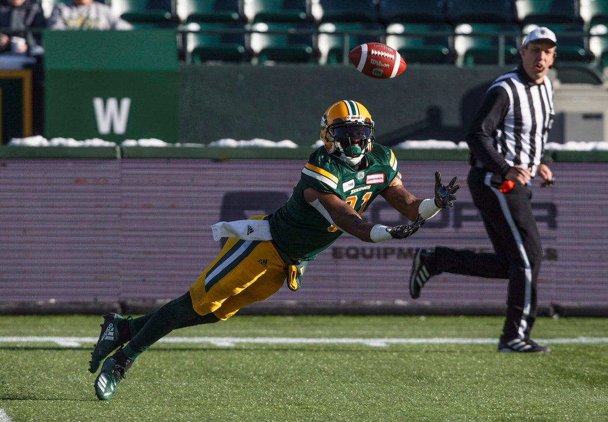 Edmonton Eskimos D'haquille Williams (81) dives for the ball against the Winnipeg Blue Bombers during first half CFL action in Edmonton, Alta., on Saturday November 3, 2018.