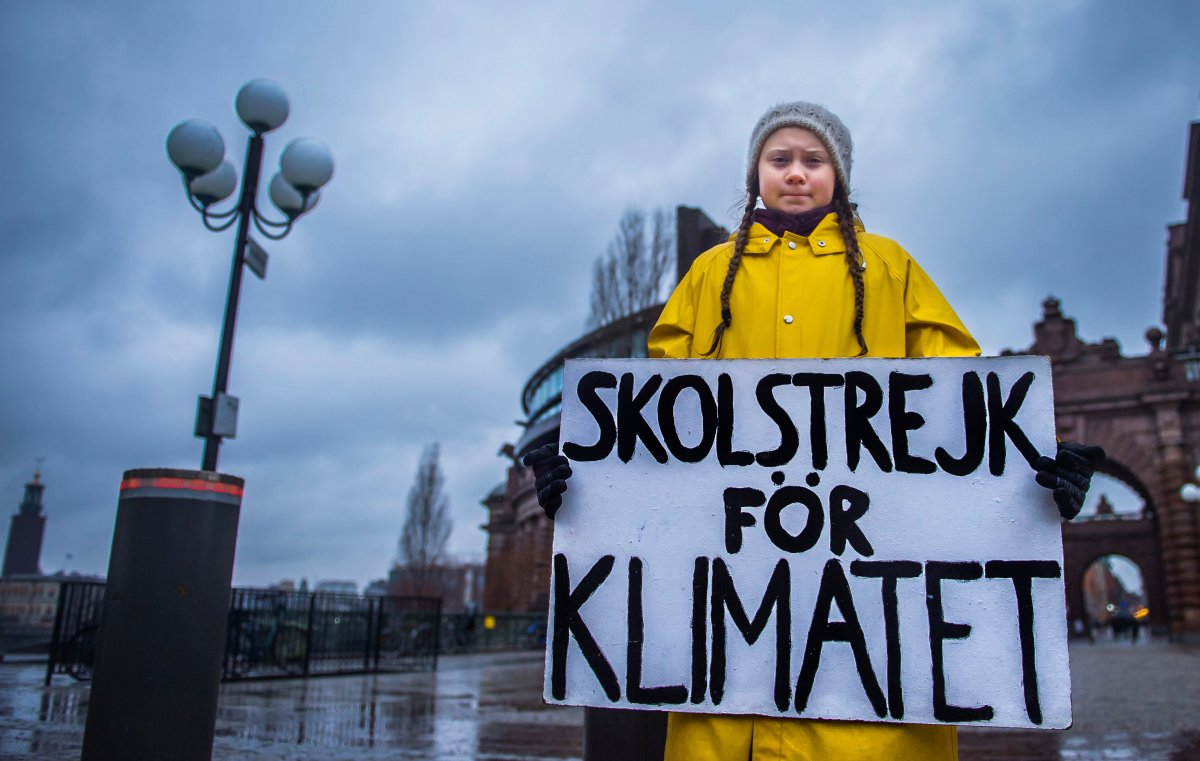 "16-year-old Swedish activist Greta Thunberg holds a placard reading ""School strike for the climate"" during a manifestation against climate change outside the Swedish parliament in Stockholm, Sweden November 30, 2018."