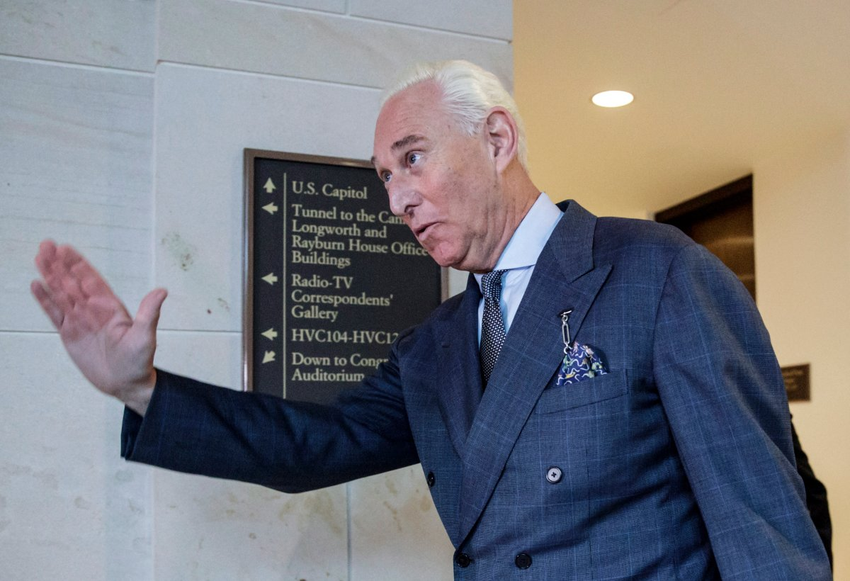 Roger Stone arrives to testify before the House Intelligence Committee, on Capitol Hill in Washington, Sept. 26, 2017.