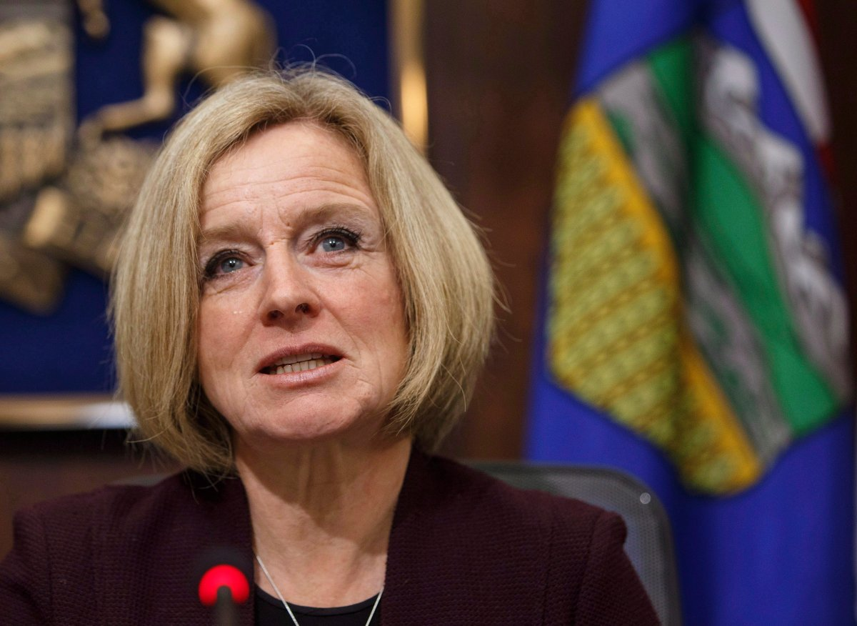Alberta Premier Rachel Notley speaks to cabinet members about an 8.7 percent oil production cut to help deal with low prices, in Edmonton on Monday December 3, 2018.