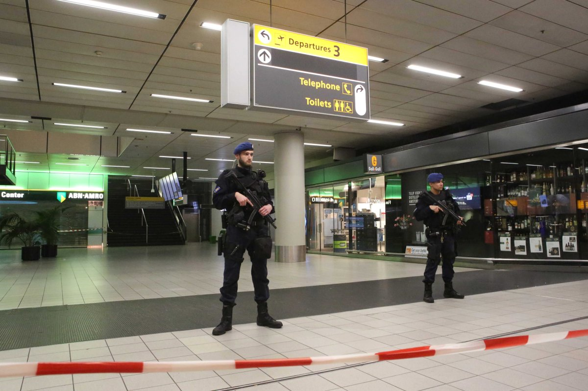 Military police secure Amsterdam Airport Schiphol on Dec. 31, 2018 following a bomb threat.