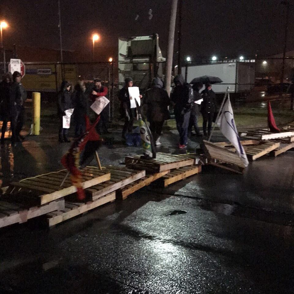 Six people were arrested outside the Canada Post plant in Halifax Sunday night during a protest.