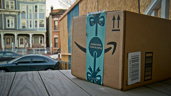 An Amazon packaged pictured on a porch in this undated file photo.