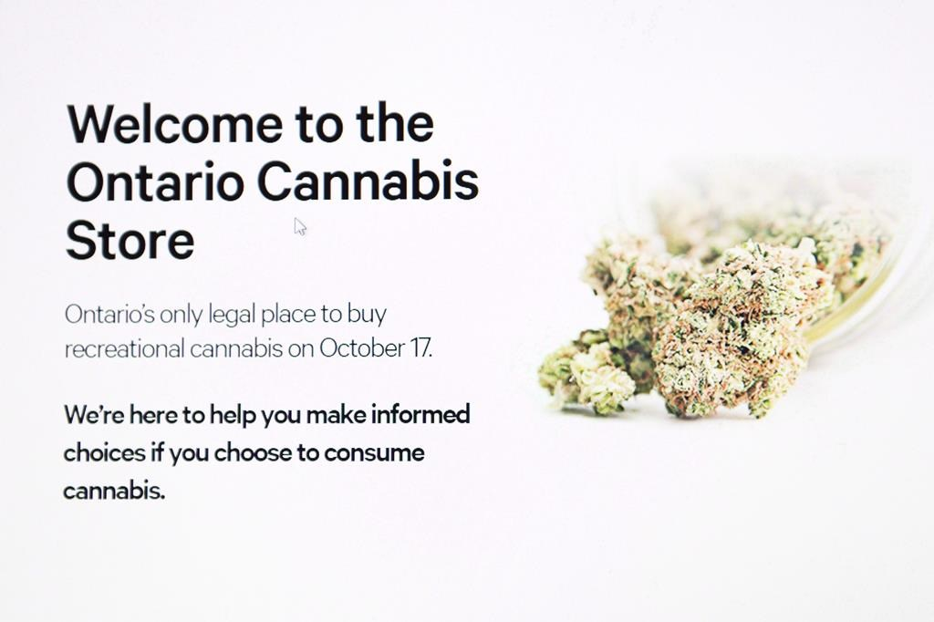 The home page for the Ontario Cannabis online store is shown in this photo illustration on Oct. 17, 2018.