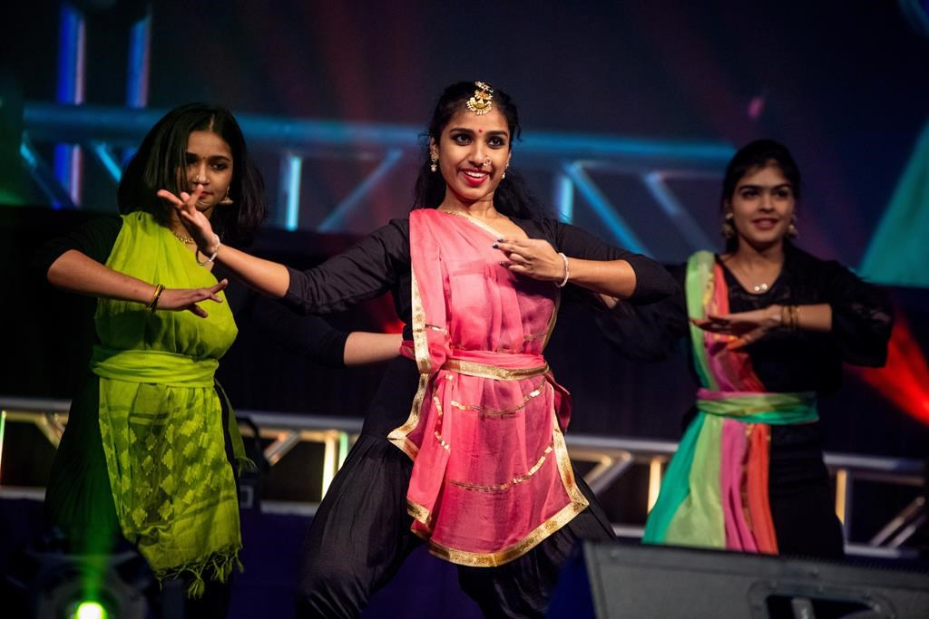 Woman dance during Cape Breton University's Diwali festival in Sydney, N.S. in an undated handout photo.