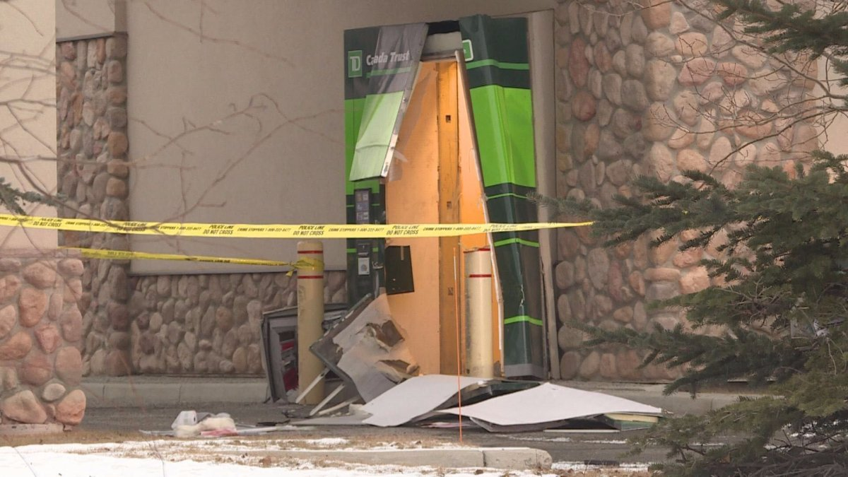 A drive-thru ATM was destroyed at the TD Canada Trust bankin the 800 block of Chapparal Drive South East in Calgary, Alta. on Saturday, December 29, 2018..