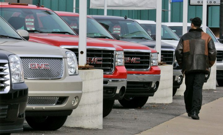 A file photo of SUVs on sale at a dealership.