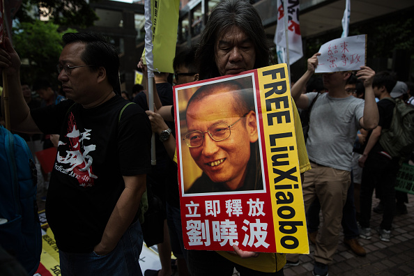 A banner of Chinese dissident Liu Xiaobo during a pro-democracy protest in Hong Kong on May 18, 2016.