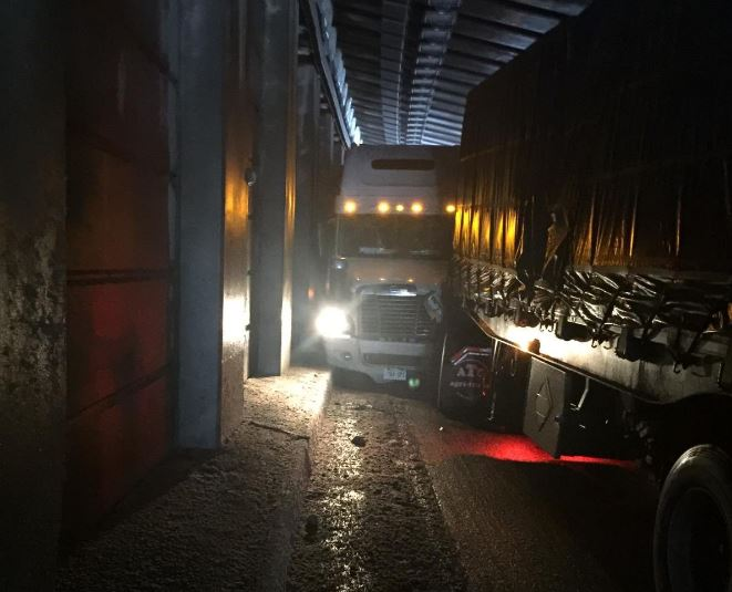 Transport crash on Highway 1 through tunnel in Glacier National Park.