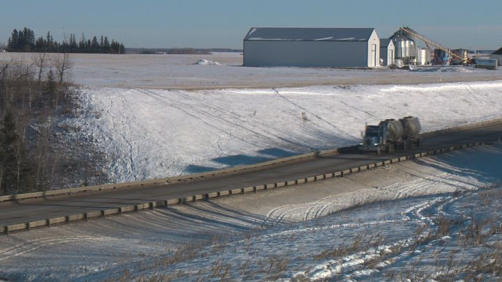 A photo of a stretch of Highway 19 south of Edmonton near Range Road 261. Dec. 12, 2018.